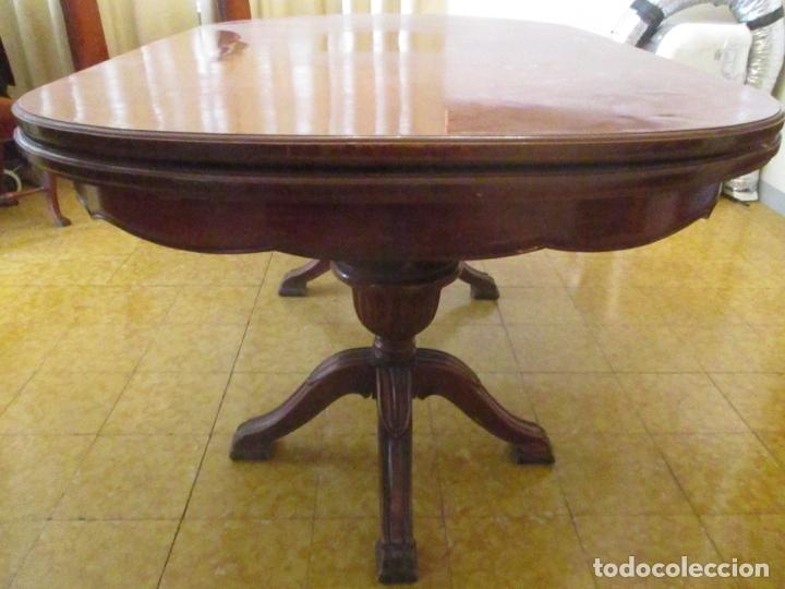 Antigüedades: Mesa de Comedor, Ovalada - Extensible - Madera de Haya, Color Caoba - 2 Patas Talladas - Años 40 - Foto 15 - 164455278