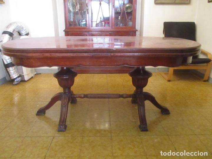 Antigüedades: Mesa de Comedor, Ovalada - Extensible - Madera de Haya, Color Caoba - 2 Patas Talladas - Años 40 - Foto 17 - 164455278