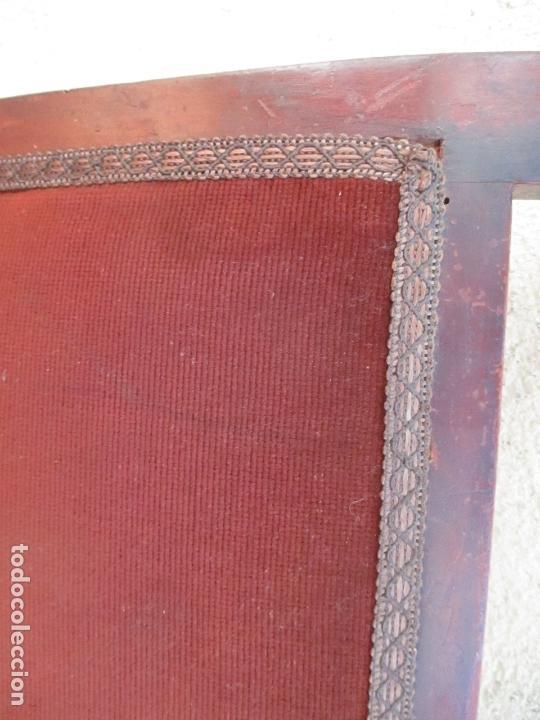 Antigüedades: Juego 6 Sillas de Comedor, Salón - Madera Haya, Color Caoba - Tapicería Terciopelo, Rojo - Años 40 - Foto 10 - 164459146