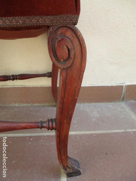 Antigüedades: Juego 6 Sillas de Comedor, Salón - Madera Haya, Color Caoba - Tapicería Terciopelo, Rojo - Años 40 - Foto 13 - 164459146