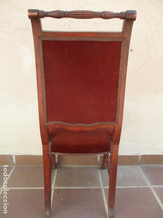 Antigüedades: Juego 6 Sillas de Comedor, Salón - Madera Haya, Color Caoba - Tapicería Terciopelo, Rojo - Años 40 - Foto 14 - 164459146