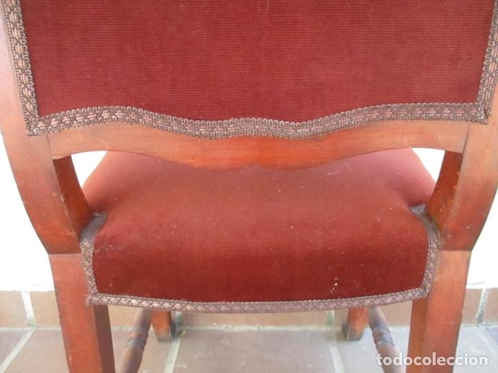 Antigüedades: Juego 6 Sillas de Comedor, Salón - Madera Haya, Color Caoba - Tapicería Terciopelo, Rojo - Años 40 - Foto 15 - 164459146