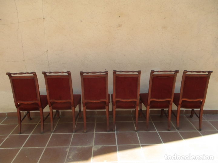 Antigüedades: Juego 6 Sillas de Comedor, Salón - Madera Haya, Color Caoba - Tapicería Terciopelo, Rojo - Años 40 - Foto 17 - 164459146