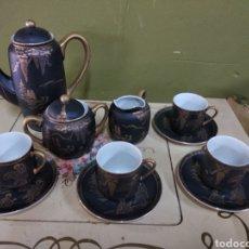 Antigüedades: JUEGO DE CAFE JAPONES. IMAGEN GEISHA. EIHO JAPÓN. CUATRO SERVICIOS.DORADO Y NEGRO. Lote 164520073