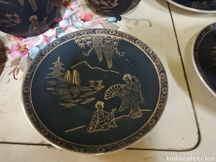 Antigüedades: Juego de cafe japones. Imagen Geisha. Eiho Japón. Cuatro servicios.Dorado y negro - Foto 3 - 164520073