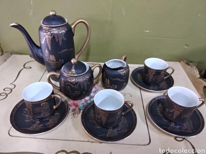 Antigüedades: Juego de cafe japones. Imagen Geisha. Eiho Japón. Cuatro servicios.Dorado y negro - Foto 5 - 164520073