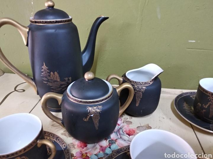 Antigüedades: Juego de cafe japones. Imagen Geisha. Eiho Japón. Cuatro servicios.Dorado y negro - Foto 6 - 164520073