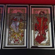 Antigüedades: LOTE 4 ESPEJOS SERIGRAFIADOS DE PARED REPRESENTANDO LAS 4 ESTACIONES. ART DECOR. INGLATERRA AÑOS 60. Lote 164549870