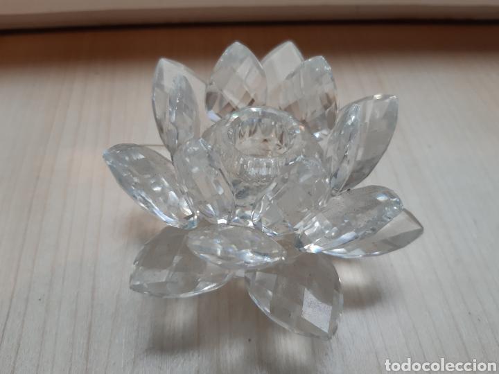 Antigüedades: Swarovski. Rosa portavelas. Nueva - Foto 2 - 164571254
