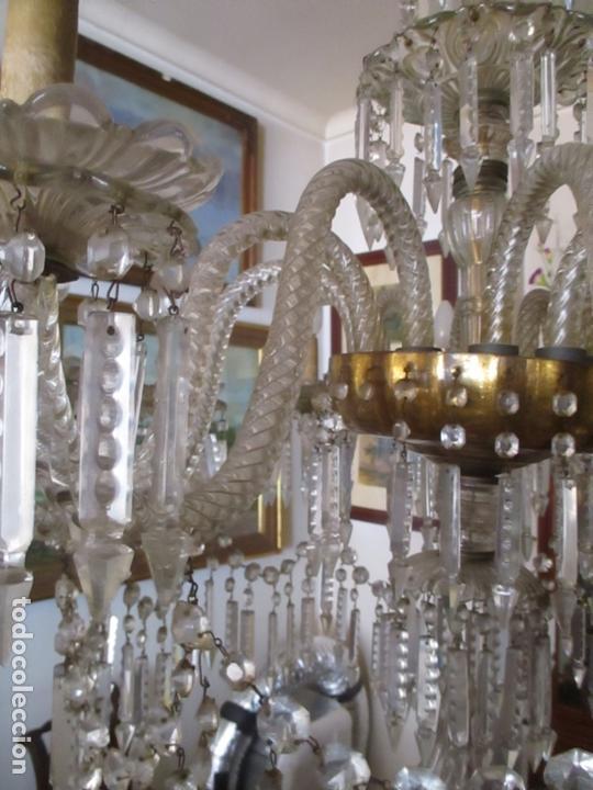 Antigüedades: Impresionante Lámpara de Techo - 8 Luces - Cristal - funciona - Ideal Comedor, Salón - Foto 2 - 164574450