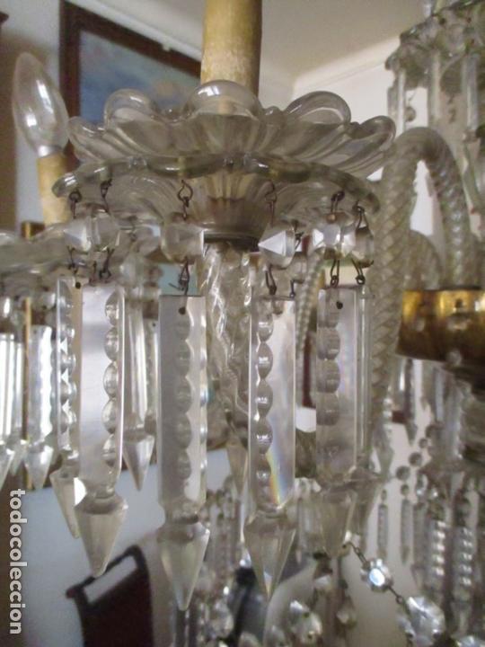 Antigüedades: Impresionante Lámpara de Techo - 8 Luces - Cristal - funciona - Ideal Comedor, Salón - Foto 3 - 164574450