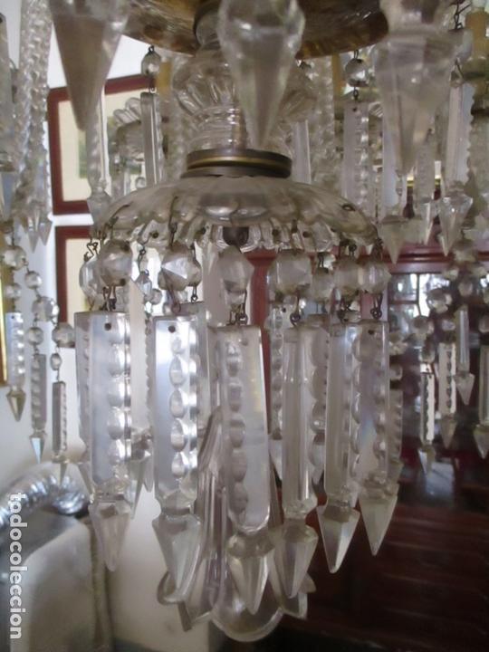 Antigüedades: Impresionante Lámpara de Techo - 8 Luces - Cristal - funciona - Ideal Comedor, Salón - Foto 4 - 164574450