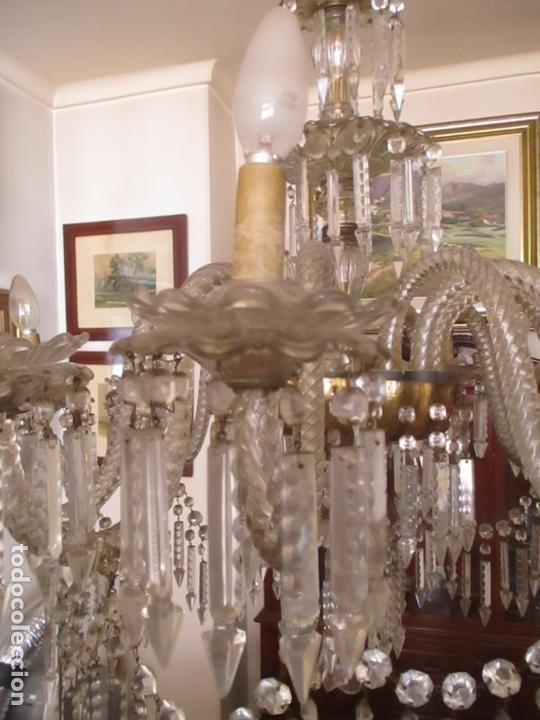 Antigüedades: Impresionante Lámpara de Techo - 8 Luces - Cristal - funciona - Ideal Comedor, Salón - Foto 5 - 164574450