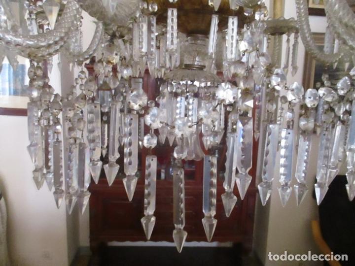 Antigüedades: Impresionante Lámpara de Techo - 8 Luces - Cristal - funciona - Ideal Comedor, Salón - Foto 11 - 164574450