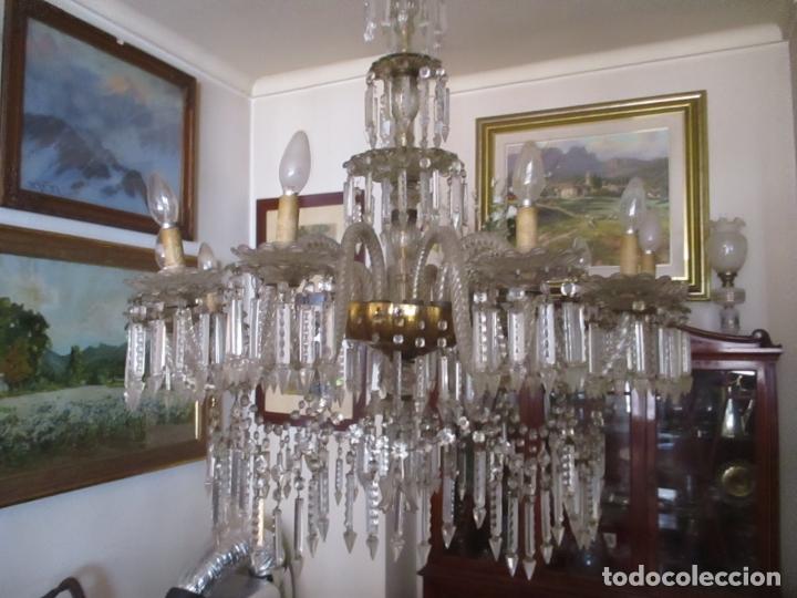 Antigüedades: Impresionante Lámpara de Techo - 8 Luces - Cristal - funciona - Ideal Comedor, Salón - Foto 18 - 164574450