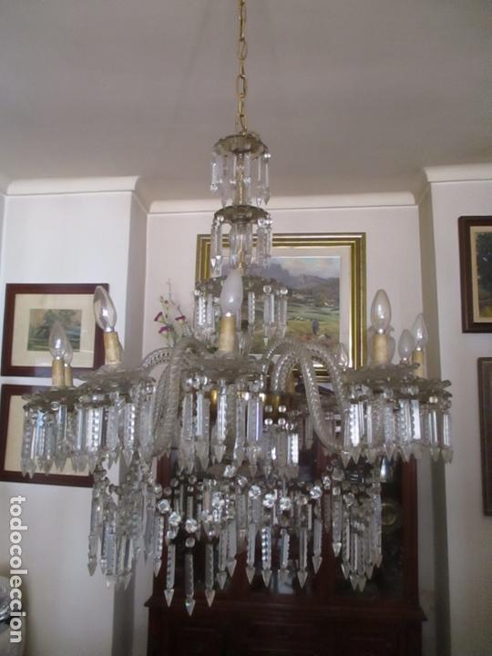Impresionante Lámpara de Techo - 8 Luces - Cristal - funciona - Ideal  Comedor, Salón