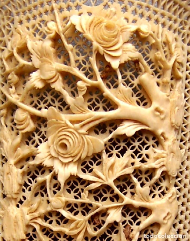 Antigüedades: Mano tallada antigüedad peine de marfil genuino del Oriente - Foto 3 - 164584370