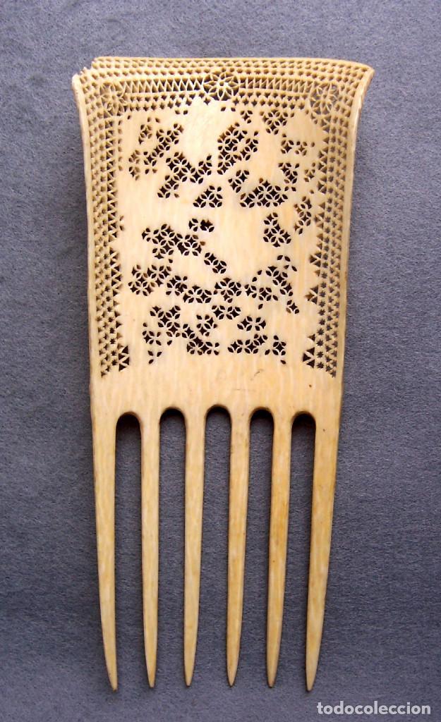 Antigüedades: Mano tallada antigüedad peine de marfil genuino del Oriente - Foto 4 - 164584370