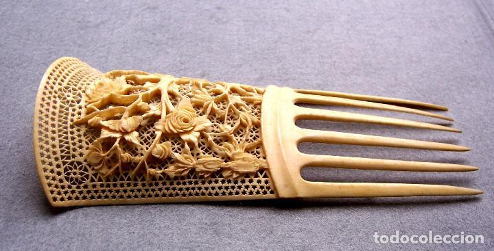 Antigüedades: Mano tallada antigüedad peine de marfil genuino del Oriente - Foto 5 - 164584370