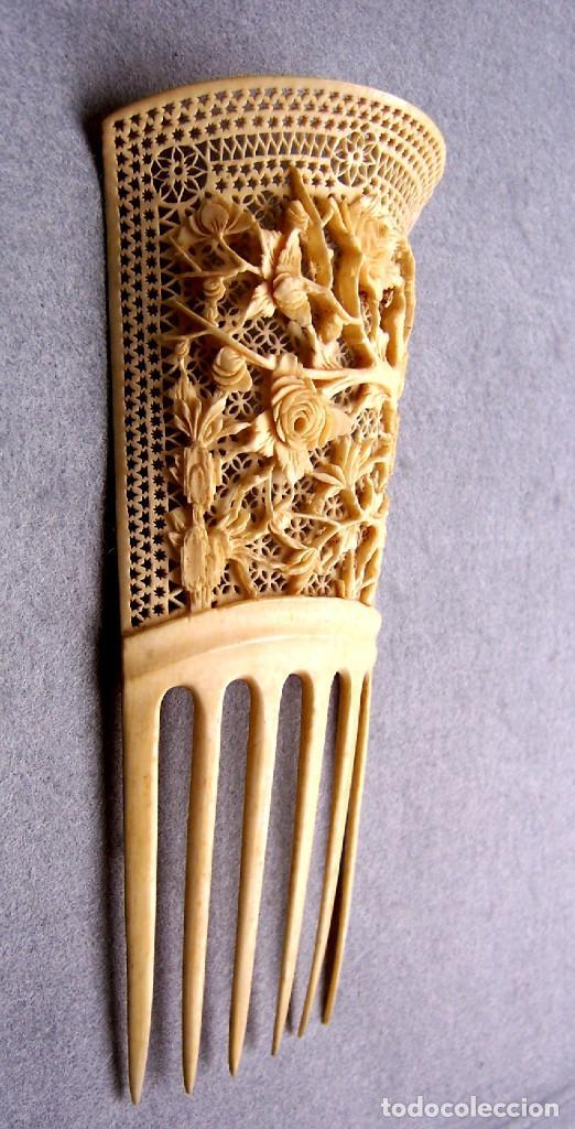 Antigüedades: Mano tallada antigüedad peine de marfil genuino del Oriente - Foto 6 - 164584370