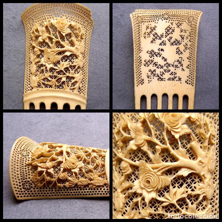 Antigüedades: Mano tallada antigüedad peine de marfil genuino del Oriente - Foto 11 - 164584370