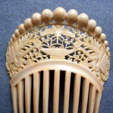 Antigüedades - Mano tallada antigüedad peineta de marfil genuino del Oriente - 164585342