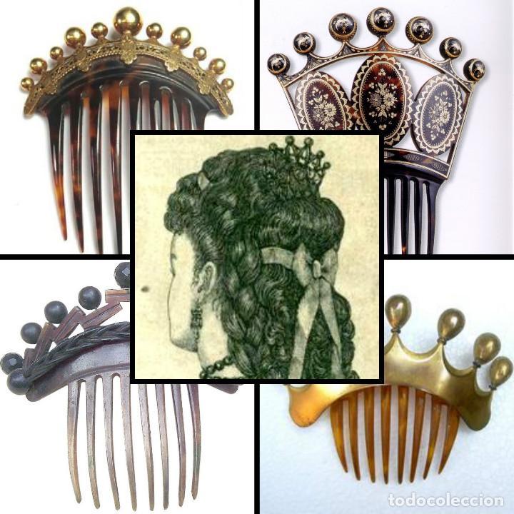 Antigüedades: Mano tallada antigüedad peineta de marfil genuino del Oriente - Foto 2 - 164585342