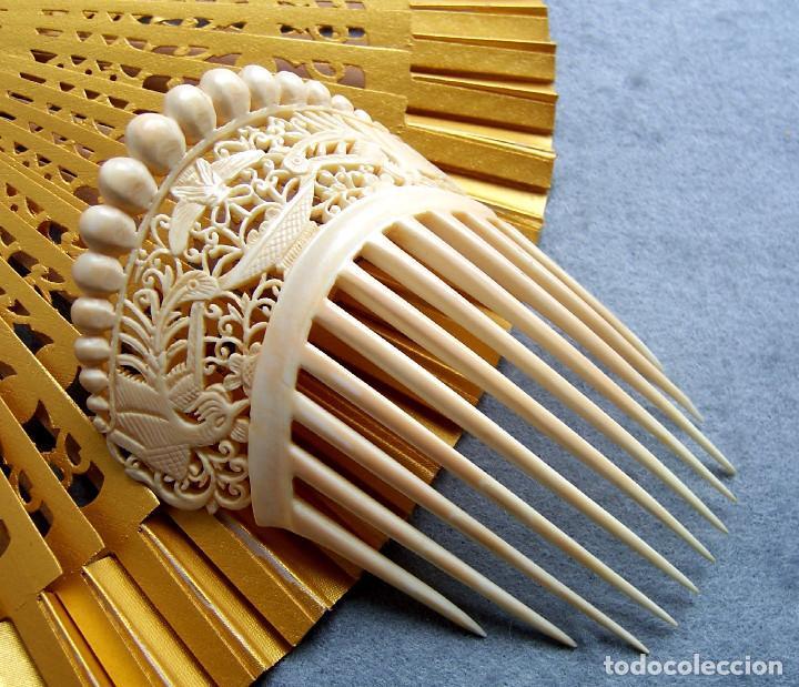 Antigüedades: Mano tallada antigüedad peineta de marfil genuino del Oriente - Foto 5 - 164585342