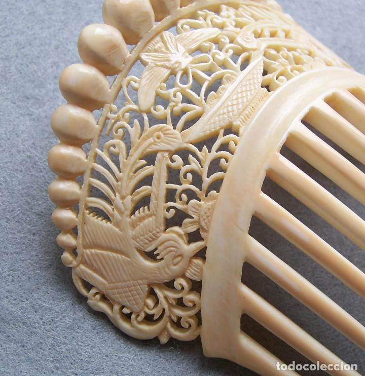 Antigüedades: Mano tallada antigüedad peineta de marfil genuino del Oriente - Foto 7 - 164585342