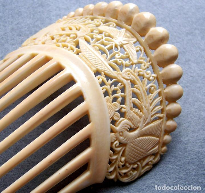 Antigüedades: Mano tallada antigüedad peineta de marfil genuino del Oriente - Foto 8 - 164585342