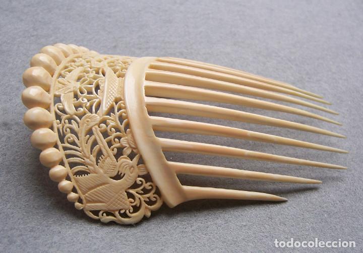 Antigüedades: Mano tallada antigüedad peineta de marfil genuino del Oriente - Foto 9 - 164585342