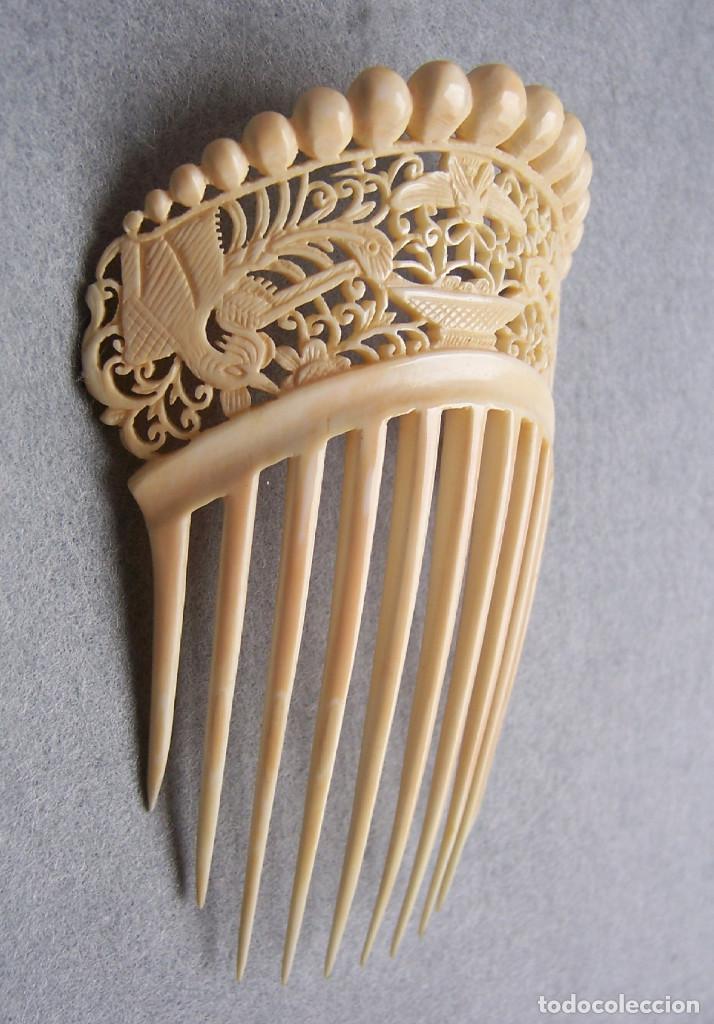 Antigüedades: Mano tallada antigüedad peineta de marfil genuino del Oriente - Foto 10 - 164585342