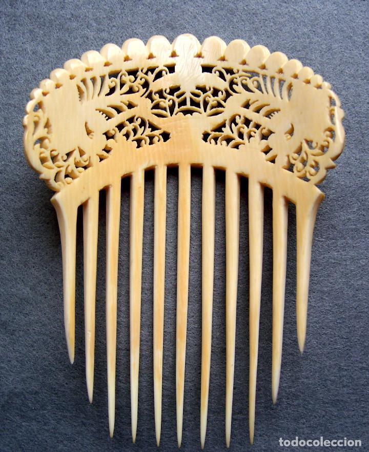 Antigüedades: Mano tallada antigüedad peineta de marfil genuino del Oriente - Foto 11 - 164585342