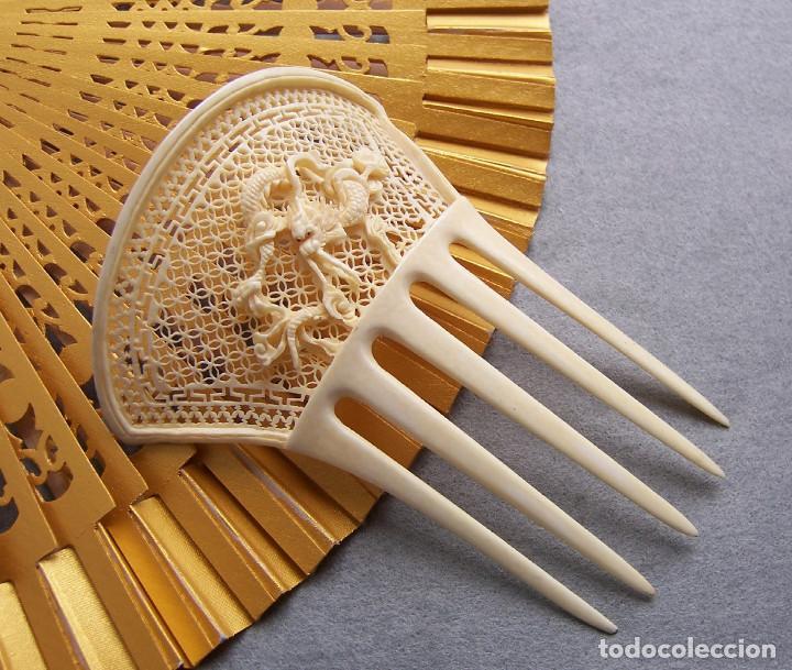 Antigüedades: Peine de pelo tallado a mano en marfil genuino del oriente - Foto 5 - 164585670
