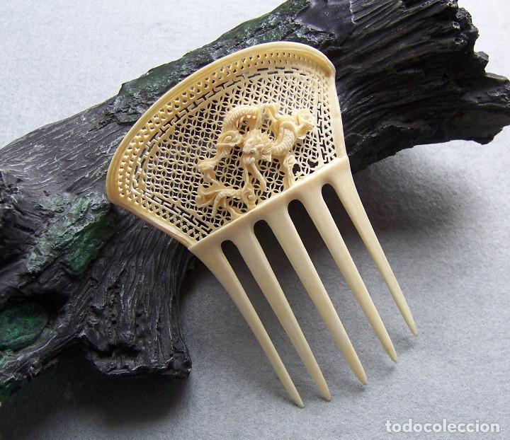 Antigüedades: Peine de pelo tallado a mano en marfil genuino del oriente - Foto 6 - 164585670