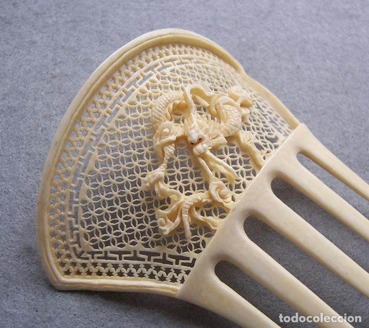 Antigüedades: Peine de pelo tallado a mano en marfil genuino del oriente - Foto 7 - 164585670