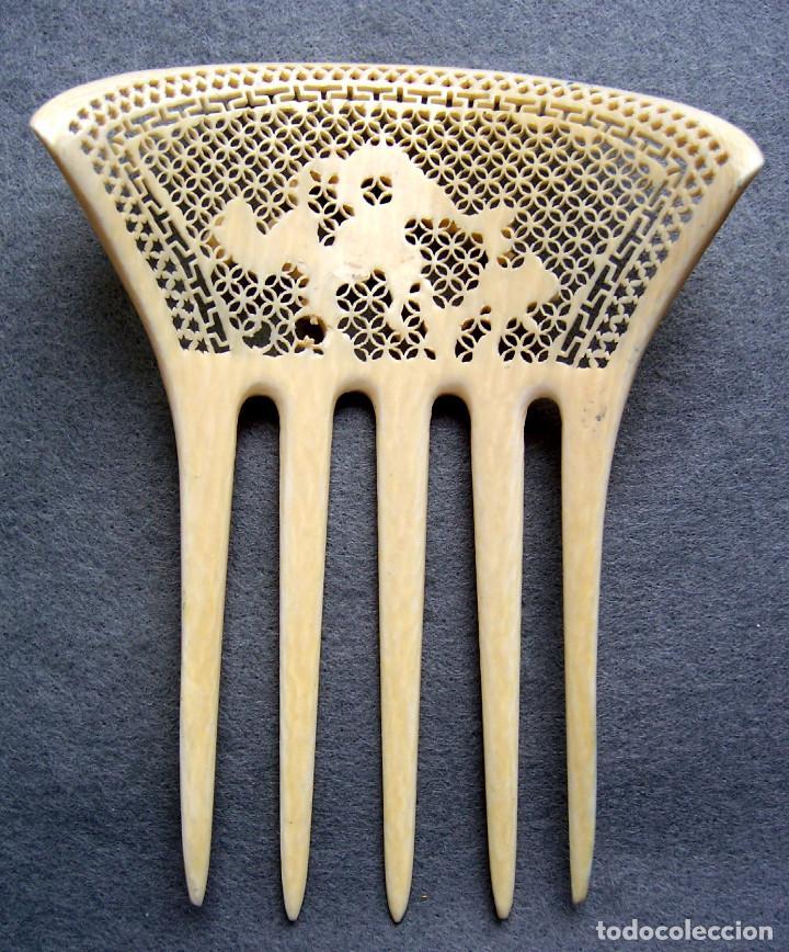 Antigüedades: Peine de pelo tallado a mano en marfil genuino del oriente - Foto 9 - 164585670