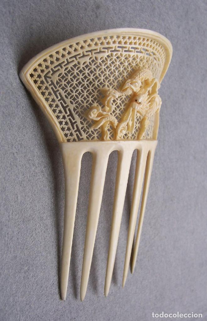 Antigüedades: Peine de pelo tallado a mano en marfil genuino del oriente - Foto 11 - 164585670