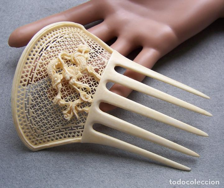 Antigüedades: Peine de pelo tallado a mano en marfil genuino del oriente - Foto 12 - 164585670
