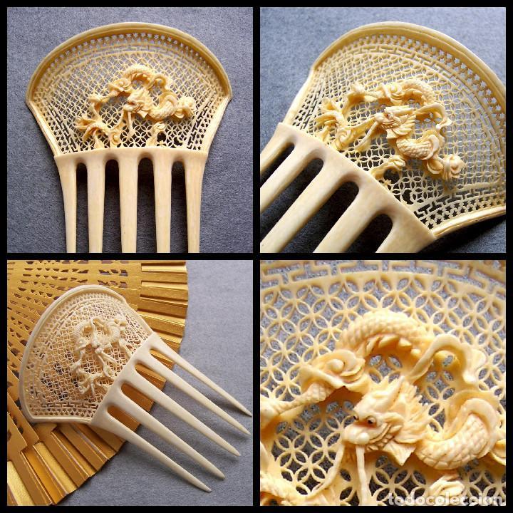 Antigüedades: Peine de pelo tallado a mano en marfil genuino del oriente - Foto 13 - 164585670