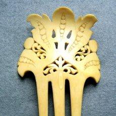 Antigüedades - Peinado antiguo tallado en marfil genuino del oriente - 164587114
