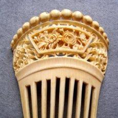 Antigüedades - Peinado antiguo tallado en marfil genuino del oriente - 164587634
