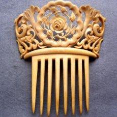 Antigüedades - Peinado antiguo tallado en marfil genuino del oriente - 164587926