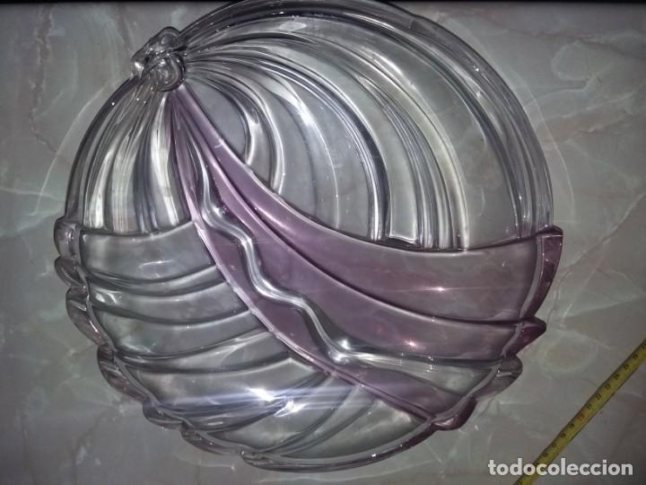 PRECIOSO CENTRO DE MESA MURANO GRANDE EN 2 TONOS LILA Y BLANCO TRANSPARENTE GRUESO 32 CM DIAMETRO (Antigüedades - Cristal y Vidrio - Murano)