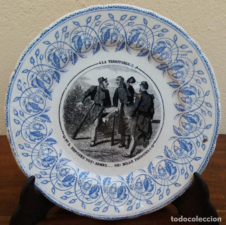 MUY ESCASO Y ANTIGUO PLATO DE PORCELANA J. VIEILLARD, LA TERRITORIALE, BORDEAUX, (1845-1895) (Antigüedades - Porcelana y Cerámica - Francesa - Limoges)