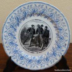 Antigüedades: MUY ESCASO Y ANTIGUO PLATO DE PORCELANA J. VIEILLARD, LA TERRITORIALE, BORDEAUX, (1845-1895). Lote 164613578