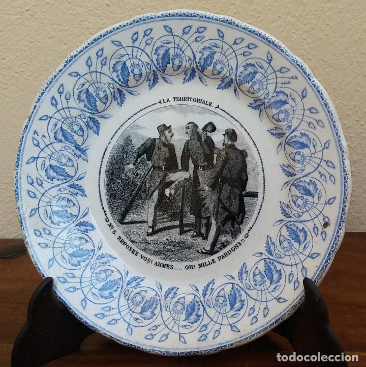 Antigüedades: MUY ESCASO Y ANTIGUO PLATO DE PORCELANA J. VIEILLARD, LA TERRITORIALE, BORDEAUX, (1845-1895) - Foto 2 - 164613578
