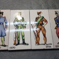 Antigüedades: AZULEJOS CON MILITARES LOTE 4 MADE IN SPAIN. Lote 164632978
