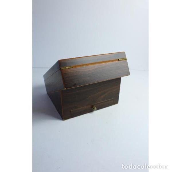 Antigüedades: Antigua caja de madera para tabaco - Foto 7 - 164638274