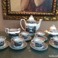 Antigüedades: JUEGO DE CAFE COMPLETO 15 PIEZAS DE LA CARTUJA DE SEVILLA PICKMAN SELLADO COLECCION VISTAS NEGRO. Lote 164663046
